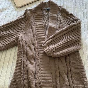 Express brown open knit cardigan